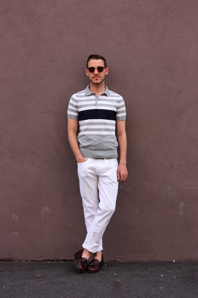 Banded-Bottom-Polo-white-pants-menswear-lookbook-650x975